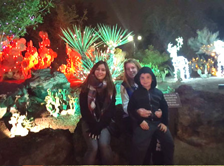 With my host sister Nicole and my host brother Tristan in the lightly Cactus Garden.