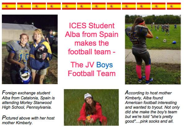 "Alba Saavedra, alumna de intercambio de ICES y miembro de ""The JV Boys Football Team"""