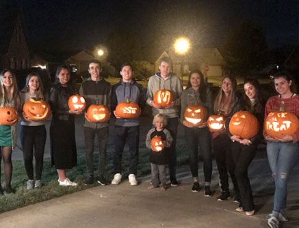 carving a halloween pumpkin