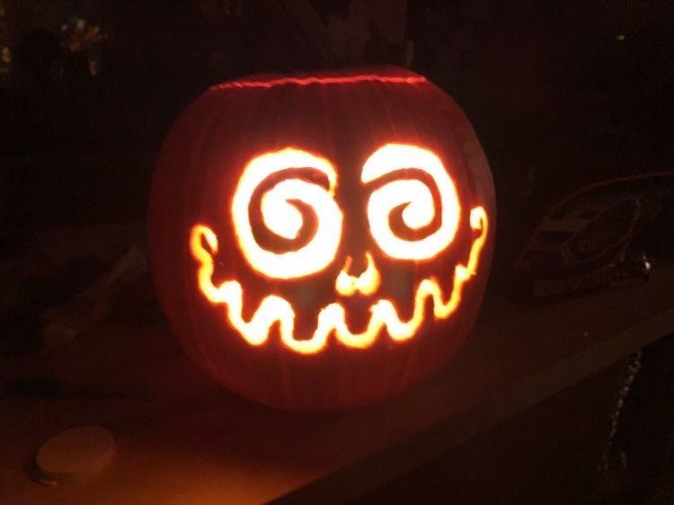 la calabaza de Ana lista para Halloween en Estados Unidos